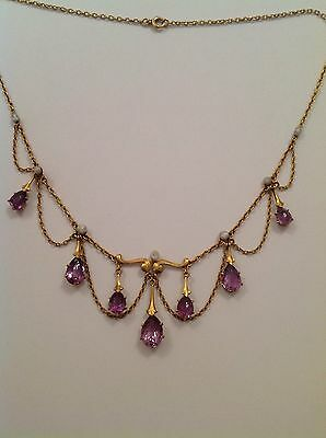 Delightful Fine Art Nouveau 15ct Gold Amethyst & Baroque Pearl Pendant Necklace