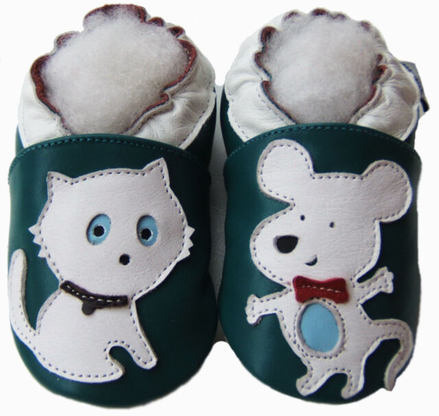 Free Ship Cozy Soft Sole Leather Shoes Baby Kid Toddler Boy Cat&Mouse Blue 6-12M