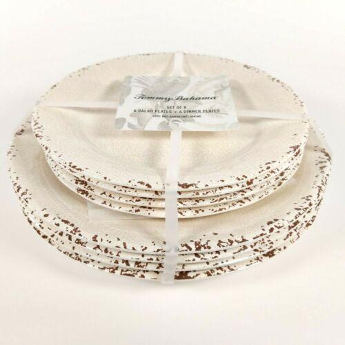 8pk Tommy Bahama Melamine Cream//Bone//Ivory Crackle Plate Set Dinner//Salad 4ea
