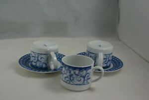 Oneida-Table-Trends-Blue-Heather-2-5-034-Tall-3-Flat-Tea-Cups-2-Saucers-Lot-of-5