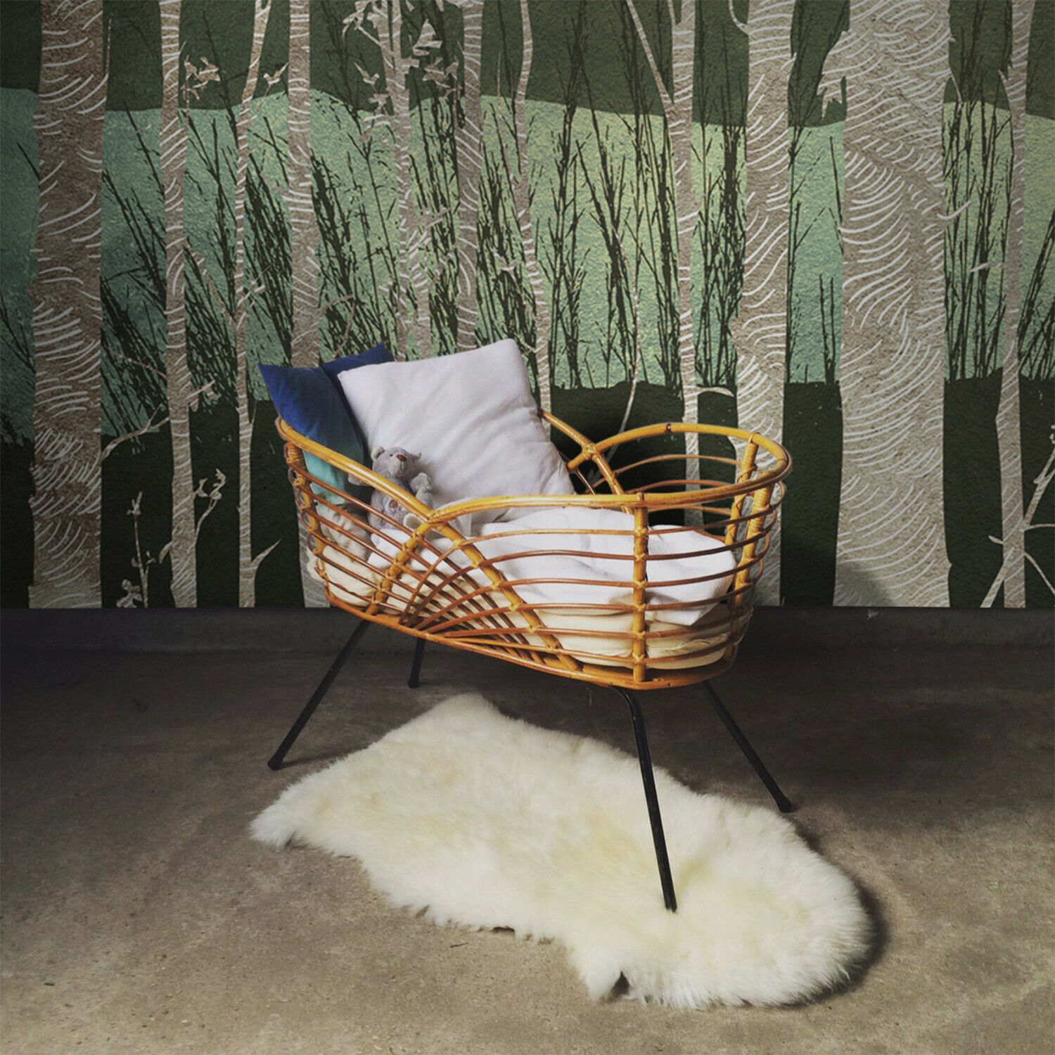 Removable Wallpaper Textured Birch Trees for nurseries kids room woods Forest