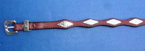 Western-Cowboy-Diamond-Concho-039-s-Top-Grain-Red-Leather-HAT-BAND-1-2-034