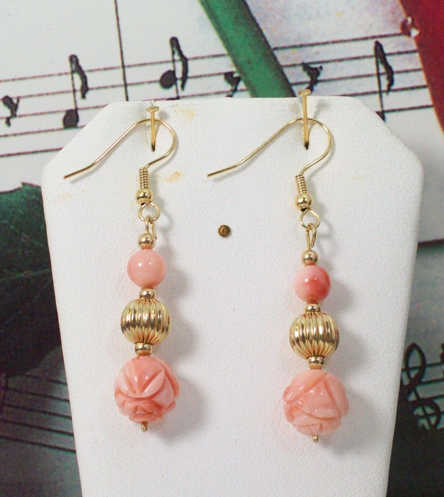 Carved Coral With 14K gold Filled Earrings. Natural Dark Pacific Coral. NDCE005