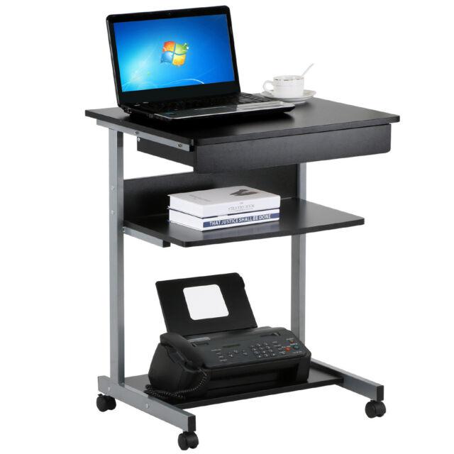 Black Wood Small Laptop Computer Cart Desk With Drawers Printer Shelf On Wheel