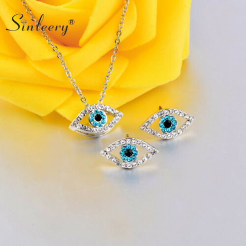 Fashion Blue Crystal Eyes Necklace Stud Earrings Jewelry Set White Gold Plated