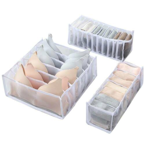 Foldable Underwear Storage Box Compartment Underpants Bra Organizer Drawer New!