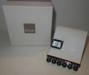 MISAKI-Shake-watch-black-Pearls-large-white-leather-band-new