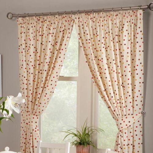 """Polka Dots Spots en coton rouge cuisine Pencil Pleat Curtains 46X48/"""" 117X122CM"""