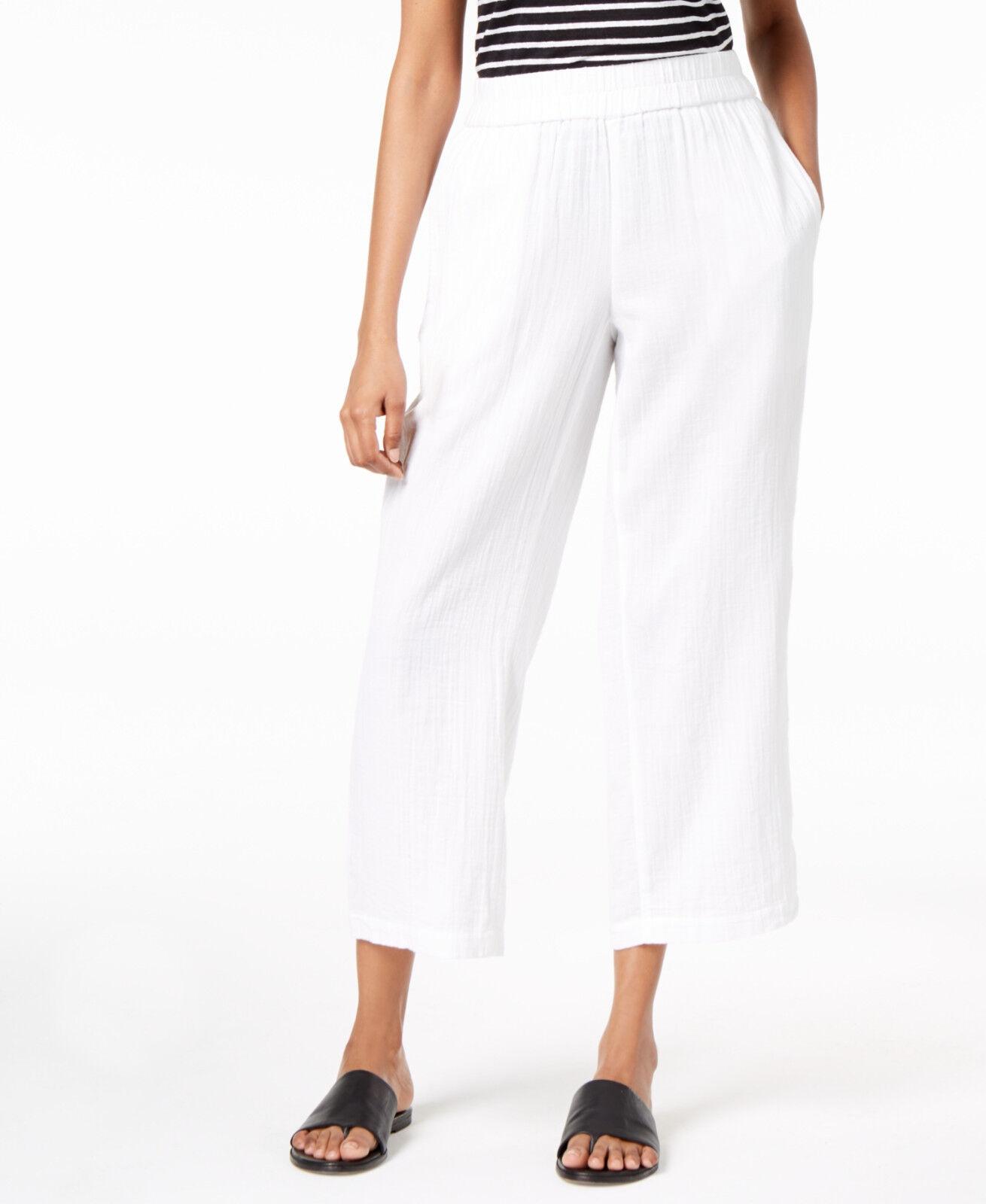 178 Eileen Fisher White Organic Cotton Guaze Straight Straight Leg Pants