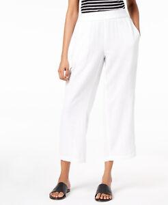 2ef6636443a  178 Eileen Fisher Petite White Organic Cotton Gauze Straight Leg ...