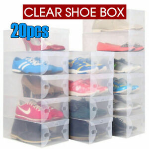 20x-Transparent-Plastic-Clear-Shoe-Storage-Box-Fordable-Boxes-Lot-Bulk-Organize