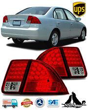For 2001 2002 2003 2004 2005 Honda Civic 4 Door Sedan Tail Lights Led Lamps Red Fits 2004 Honda Civic