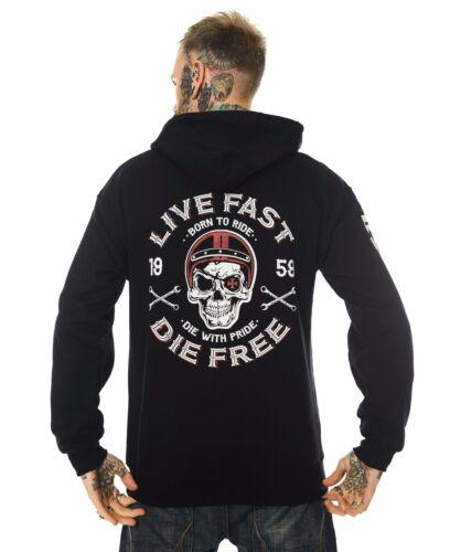 Dragstrip Clothing Uomo Felpa con cappuccio Live Fast DIE FREE HOT Rod Felpa Con Cappuccio Motociclista Felpa Con Cappuccio