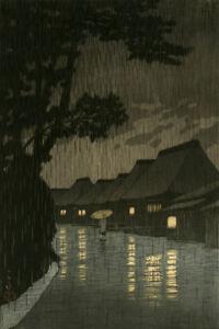 """Matted Print Kawase Hasui Japan Kansa no Miya Shrine  8 x 10/"""" Sealed Black Mat"""