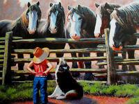 Sunsout 300 Piece Jigsaw Puzzle sizing Up Girl & Horses 16x26