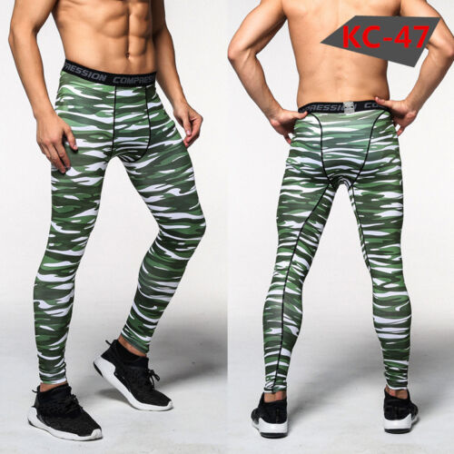 Mens Compression Base Layer Pants Tight Under Skin Sports Wear Gear Camo Style