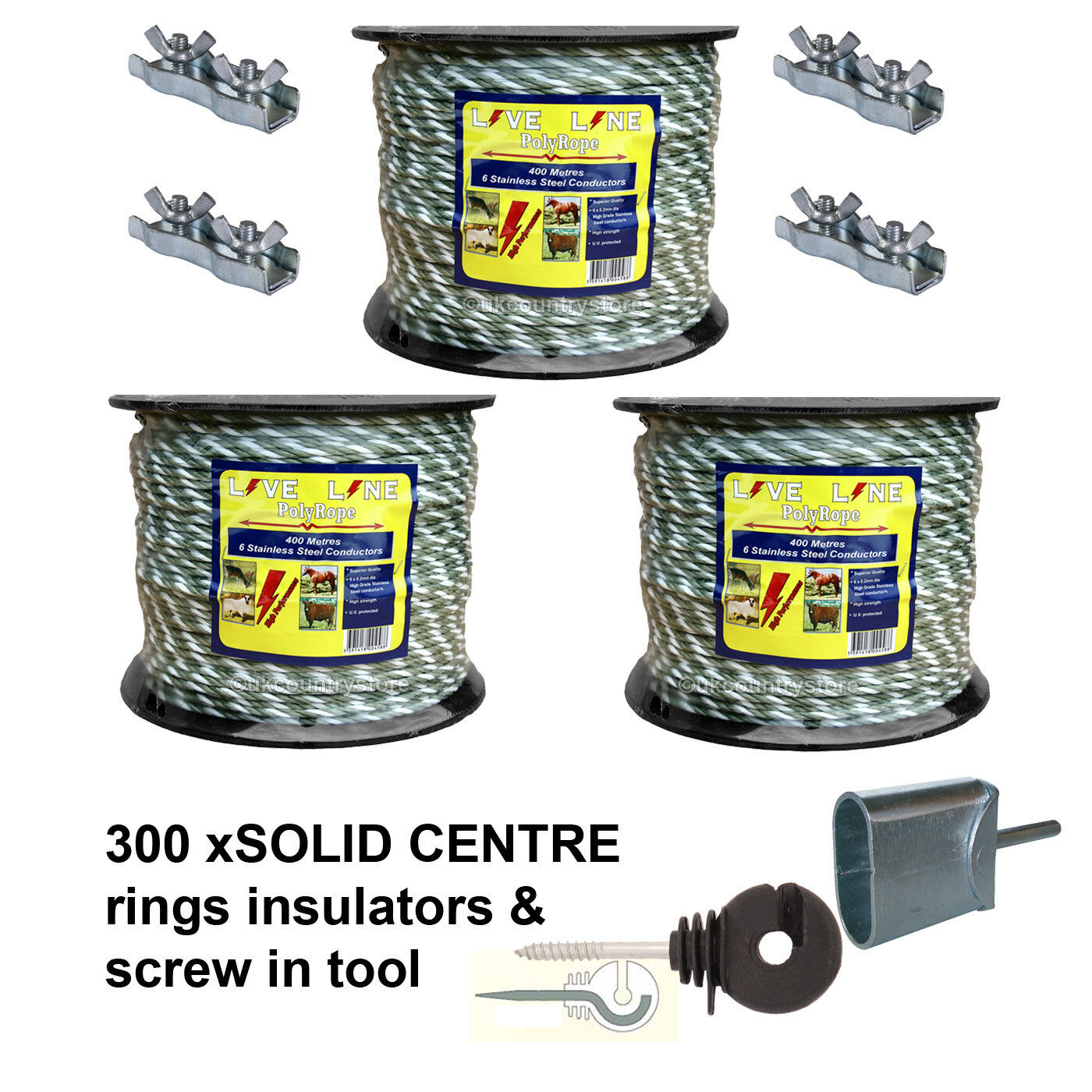 3 x 400m Green   White Electric Fencing Rope & 300 Rings with Tool & Connectors