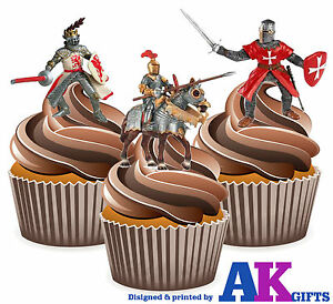 PRECUT-St-George-Knights-12-Cupcake-Toppers-Cake-Decorations-Birthday-Party