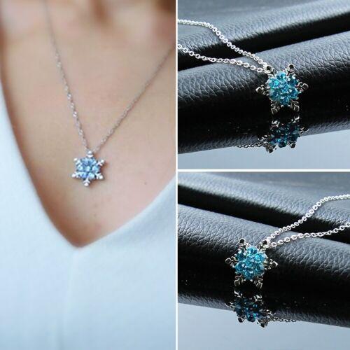 Schneeflocke Blau Kristall Strass Anhänger Halskette Geschenke Damen Schmuck