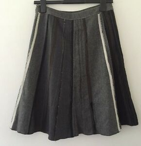 PROMOD-GREY-WOOL-BLEND-LINED-DECONSTRUCTED-SPLICED-SKIRT-SIZE-8