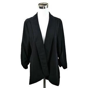 Alfani-Womens-0X-Plus-Blazer-Jacket-Black-Polyester-Open-Front-3-4-Sleeve-Lined