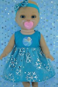 Play-n-Wear-Dolls-Clothes-For-14-034-Luvabella-Newborn-SNOWFLAKE-DRESS-HEADBAND
