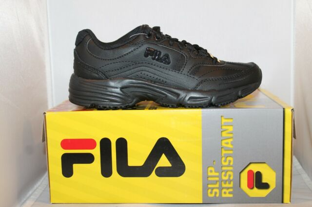 fb2fc835 Womens Fila Workshift Non Skid Slip Resistant Memory Foam Work Shoes Black  White