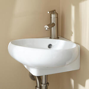 Signature hardware isolde corner porcelain wall mount bathroom sink