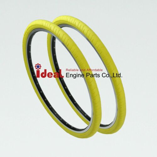 Pair Bike Tire Yellow 700X35C 700C Tubeless Puncture Free Protection No Flat Air