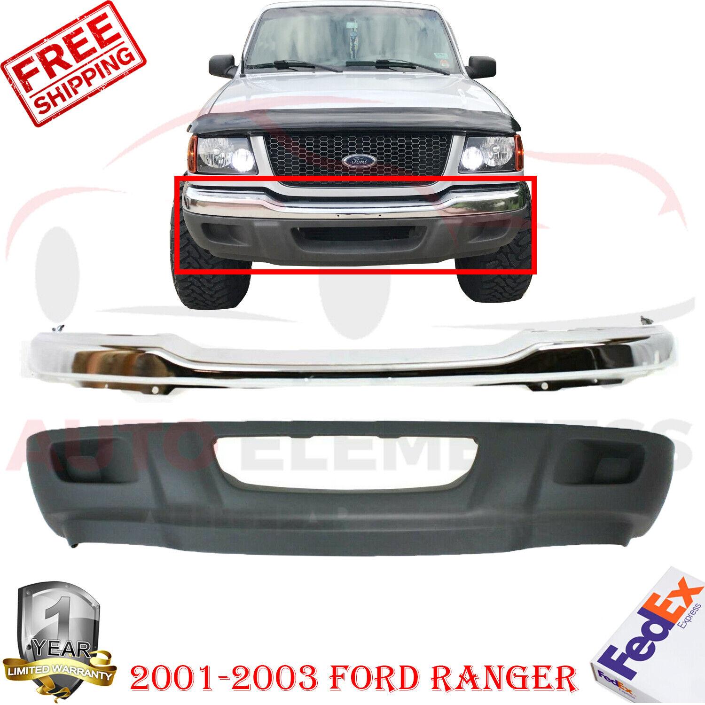Front Bumper Chrome Steel Lower Valance Kit For 2001-2003 Ford Ranger 2Pc
