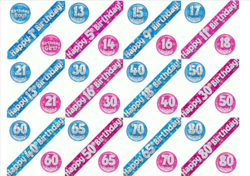 Birthday Foil Banners /& Badges Pink or Blue Multi Choice Age 1-80 Girl Boy
