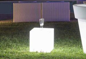 Détails Sur Lampe Cube Made In Italy Moderne Carré Jardin Lumière Led Lumineux Extérieur