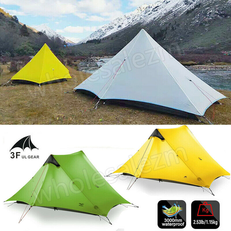 3F LanShan 1 & 2 Person Ultralight Backpacking Tent 15D Camping Outdoor 2019 Hot