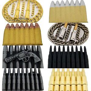 Bullets-Belt-Buckle-Halloween-Costume-Gift-Metal-Antiqued-Silver-Fashion-Unisex