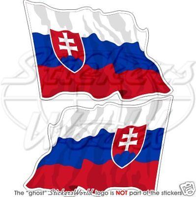 """4,7/"""" Vinyl Stickers Decals x2 SLOVAKIA Slovak Flying Flag Slovensko 120mm"""