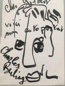 Autographe Charles Berling original dédicace Dessin Autoportrait Cinéma Francais