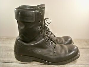 Vtg-Black-Leather-Mens-Combat-Biker-Riding-Motorcycle-Soft-Toe-Boots-Size-11-5