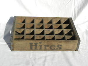 Vtg Hires Root Beer 24 Bottle Slots Wooden Crate Metal Bands Treen Box Co Phila.