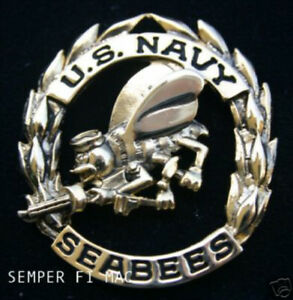 US NAVY SEABEES HAT PIN