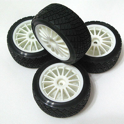 "4PCS HPI WR8 2.2""(57mm) TARMAC WHEEL WHITE + 3.14""(80mm) RALLY OFF ROAD TIRE"