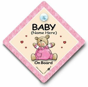 Non Personalised Child//Baby On Board Car Sign ~ Our Little Girl On Board ~ Pink