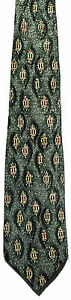Men's New Neck Tie, Dark Green with brown Marquise shapes by Jay Jacobs Menswear