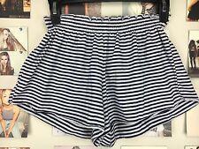 brandy melville Navy Blue White Stripe high waisted ruffled trim ross shorts Nwt