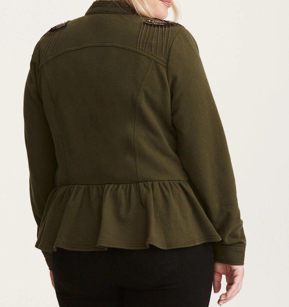 64bed95d616 Torrid Olive Green Embellished Knit Peplum Military Jacket 4x 26 ...
