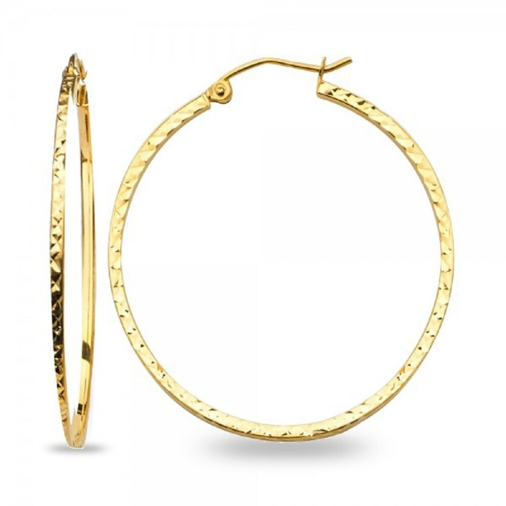14k Yellow gold Big Round Hoops Square Tube Diamond Cut Earrings Polished Fancy