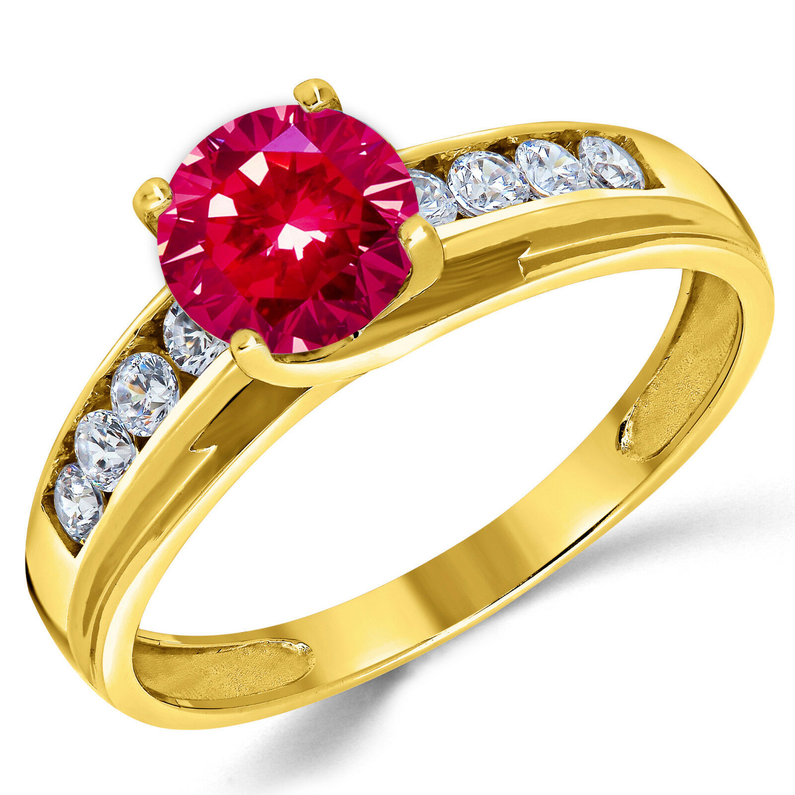 14K Solid Yellow gold Lab Created Ruby Solitaire Engagement Ring 1.00 Ct.