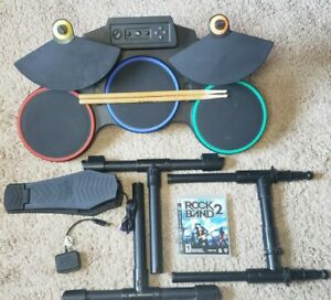 PS3 Guitar Hero Red Octane Wireless Drum Set READY FOR PLAY W/Dongle Sticks Game