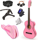 """NEW! 30"""" Left Handed Pink Wood Guitar With Case and Accessories for Kids/Girls/B"""