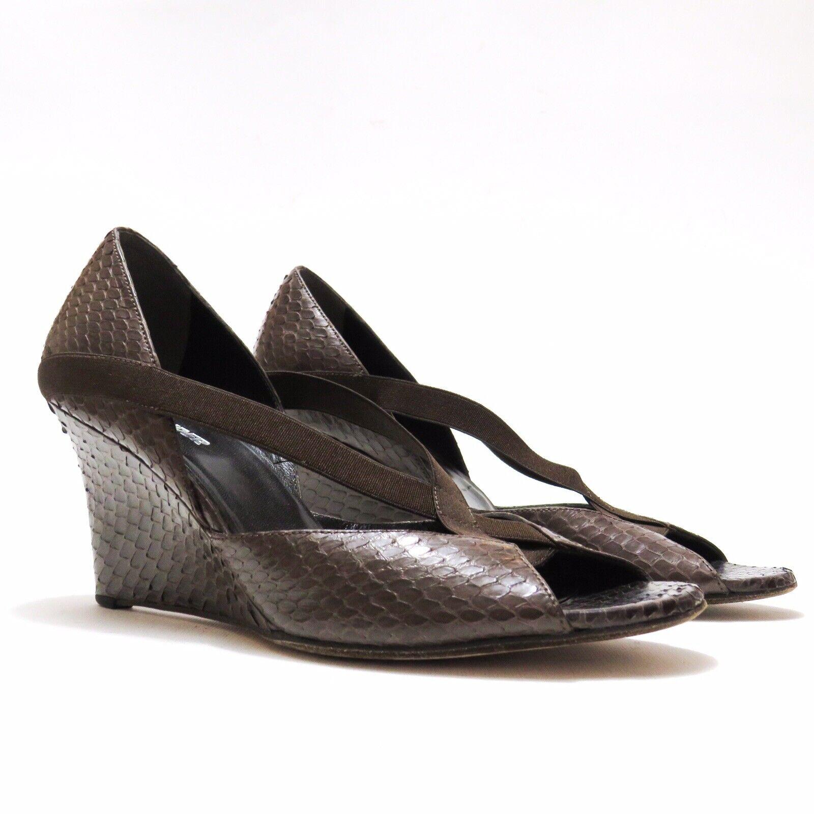 Jil Sander - Snakeskin Marronee Wedge Heels - Sz 39   vendite online