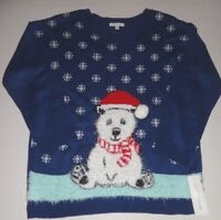 Womens Notations Ugly Blue Christmas Panda Bear Sweater Size 1x 2x